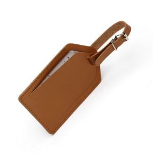 Porte etiquette pour bagage beige cuir